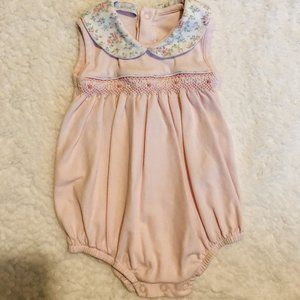 Baby Girl Pink Pima Cotton Smocked Bubble